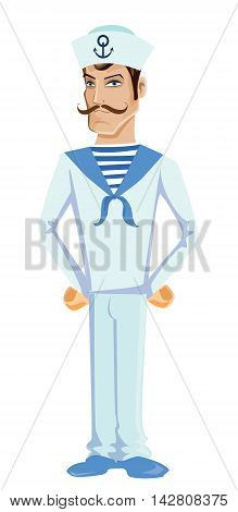 Cartoon and funny sailor with mustache, vector illustration