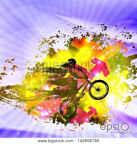 BMX biker jumping. A vector illustration