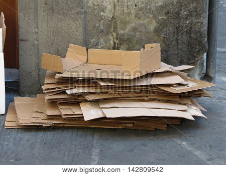 A pile of light bown corrugated cardboards