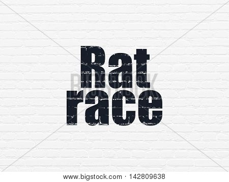 Business concept: Painted black text Rat Race on White Brick wall background