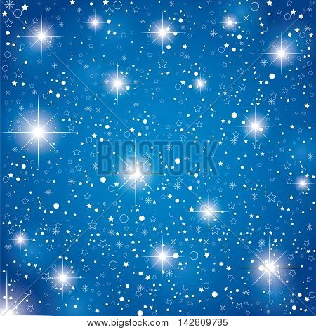 Night sky with stars on blue abstract background. Christmas blue stars background.