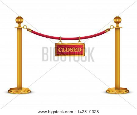 A velvet rope barrier with a closed sign