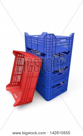 Blue plastic crate isolated on white background. 3d rendering