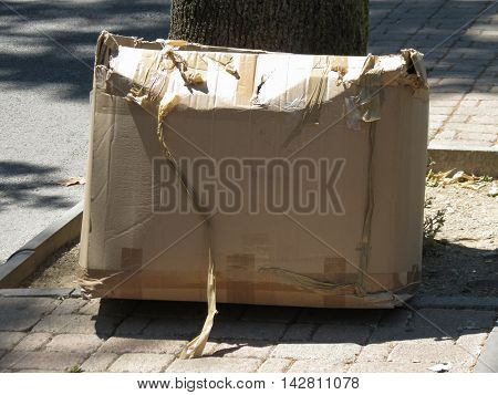 Corrugated cardboard box for small packet parcel
