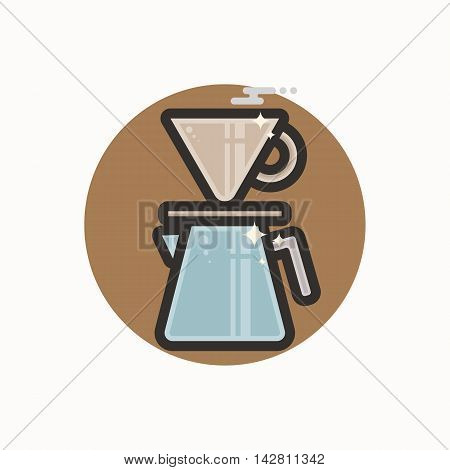 Vector icon of coffee driper. Icon is in lineart style. Symbol on brown circular background.