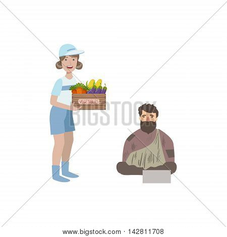 Volunteer Giving Food To Homeless Man Flat Illustration Isolated On White Background. Simplified Cartoon Character In Cute Childish Manner.