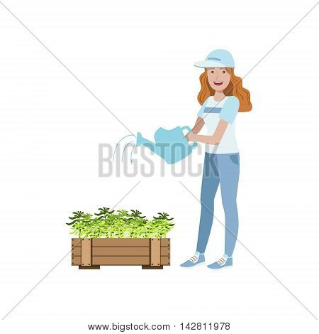 Volunteer Watering The Plants Flat Illustration Isolated On White Background. Simplified Cartoon Character In Cute Childish Manner.