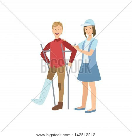 Volunteer Helping The Guy On Crouches Flat Illustration Isolated On White Background. Simplified Cartoon Character In Cute Childish Manner.