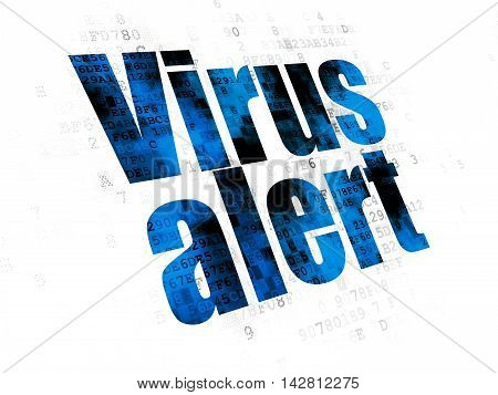 Security concept: Pixelated blue text Virus Alert on Digital background