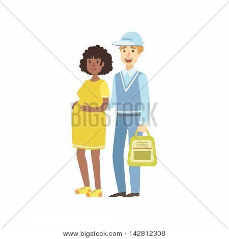 Volunteer Helping Pregnant Woman Flat Illustration Isolated On White Background. Simplified Cartoon Character In Cute Childish Manner.