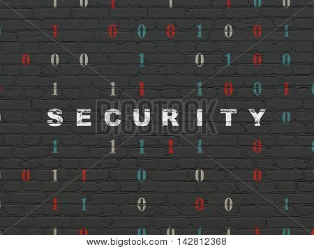 Privacy concept: Painted white text Security on Black Brick wall background with Binary Code