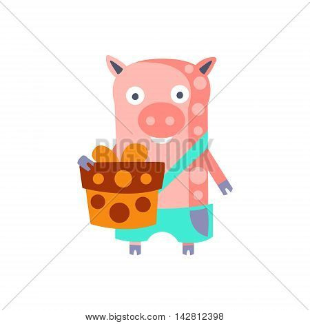 Pig With Party Attributes Girly Stylized Funky Sticker. Funny Colorful Flat Vector Illustration For Kids On White Background