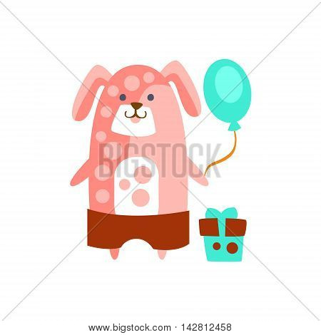 Dog With Party Attributes Girly Stylized Funky Sticker. Funny Colorful Flat Vector Illustration For Kids On White Background