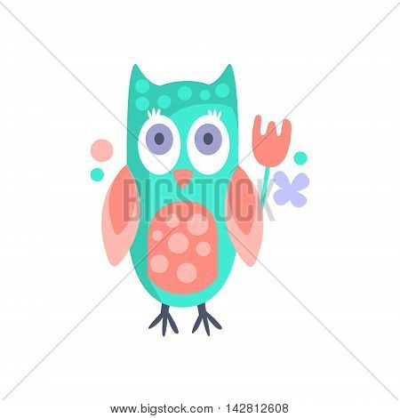 Owl With Party Attributes Girly Stylized Funky Sticker. Funny Colorful Flat Vector Illustration For Kids On White Background