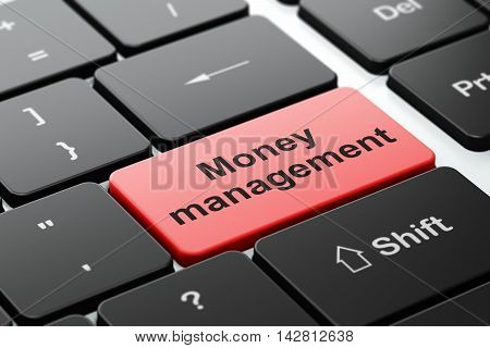 Money concept: computer keyboard with word Money Management, selected focus on enter button background, 3D rendering