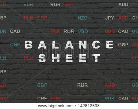Banking concept: Painted white text Balance Sheet on Black Brick wall background with Currency