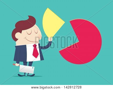 Market share, sell, Cartoon vector, illustration, Concept