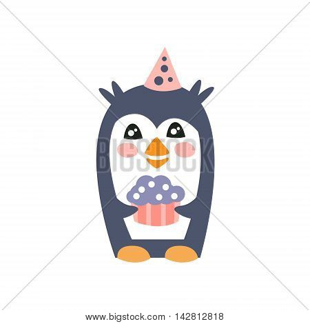 Penguin With Party Attributes Girly Stylized Funky Sticker. Funny Colorful Flat Vector Illustration For Kids On White Background
