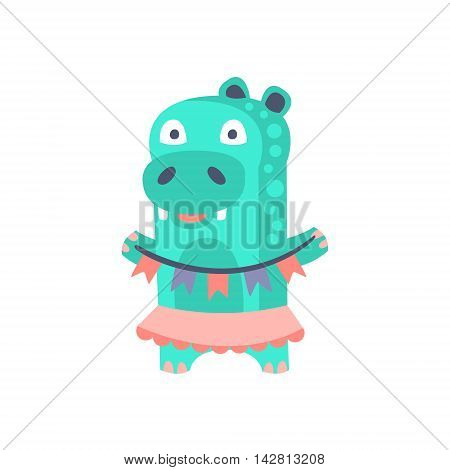 Hippo With Party Attributes Girly Stylized Funky Sticker. Funny Colorful Flat Vector Illustration For Kids On White Background