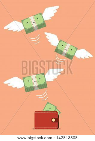 Money bill flying out of wallet. Business concept