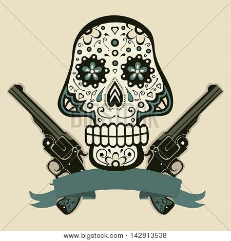 Hand drawn skull with guns in vintage style. Vector illustration