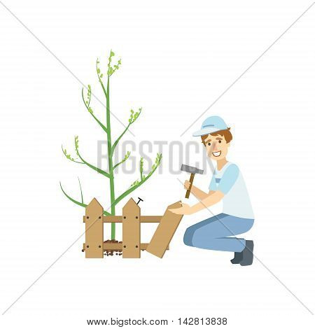 Volunteer Building A Fence Around Newly Planted Tree Flat Illustration Isolated On White Background. Simplified Cartoon Character In Cute Childish Manner.