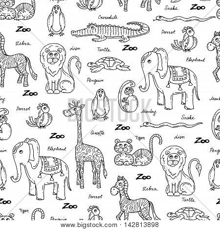Vector seamless pattern with hand drawn animals on white color. Pattern on the theme of zoo. Background for use in design packing web site fabric