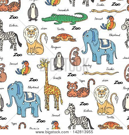 Vector seamless pattern with hand drawn colored animals. Pattern on the theme of zoo. Background for use in design packing web site fabric