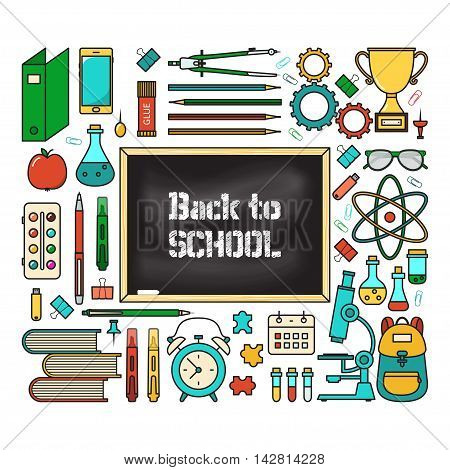 Vector illustration of school supplies with blackboard. Isolated on white background. Welcome back to school greeting card. Colorful flat line style.