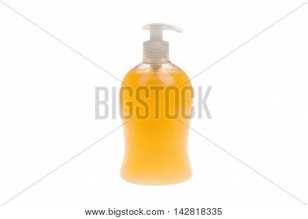 Plastic Bottle with liquid soap isolated on white