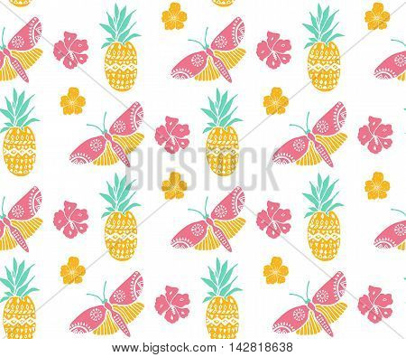 Tropical pattern with pineapple, flowers and butterfly. Pink, yellow and mint colors, diagonal direction. Summer textile motif. Seamless texture.