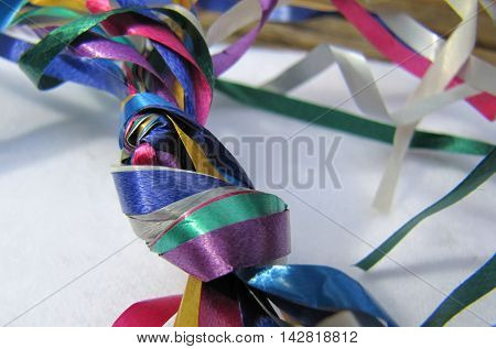 Knot In Clew Of Party Ribbons In Vibrant Colours
