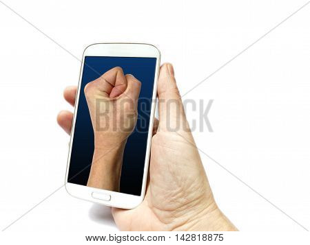 Hand Holding Smart Phone With Fist On Screen