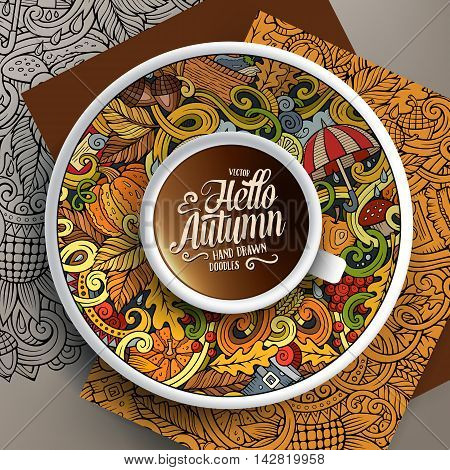 Vector illustration with a Cup of coffee and hand drawn Autumn doodles on a saucer, on paper and on the background