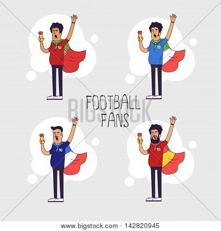 Set of the international fans of national football teams. Characters with flag. Flat line style design