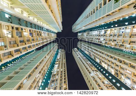 Downtown residential building from low angle