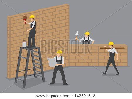 A group of builders working at construction site. Cartoon vector illustration isolated on plain grey background.
