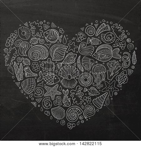 Chalkboard vector hand drawn set of Underwater life cartoon doodle objects, symbols and items. Heart form composition