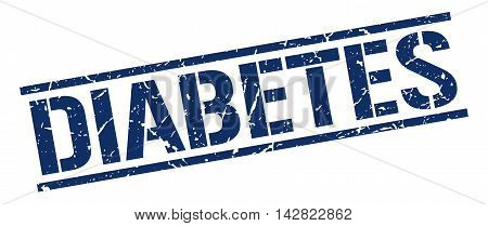 diabetes stamp. blue grunge square isolated sign