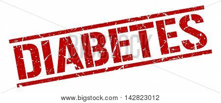 diabetes stamp. red grunge square isolated sign