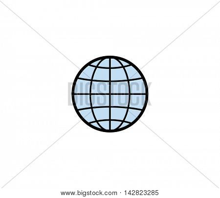 Globe symbol icon. Vector illustration of globe for delivery service