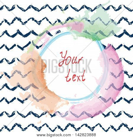 Abstract background for the card or invitation with frame in watercolor style vector illustration