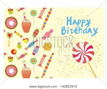 Birthday card with sweets - funny design vector graphic illustration