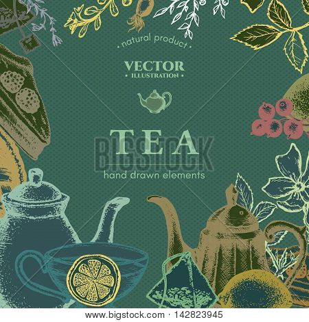 Tea vector card design hand drawn illustration. Decorative inking engraved background
