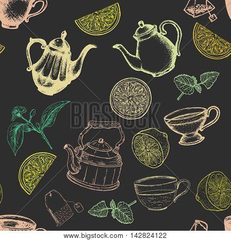 Tea seamless pattern dark style lemon kettles vector