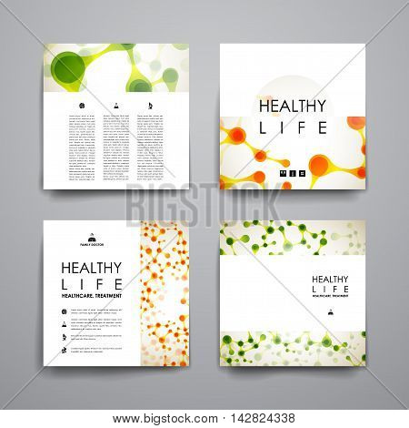 Set of brochure, poster templates in healthcare style. Beautiful design and layout