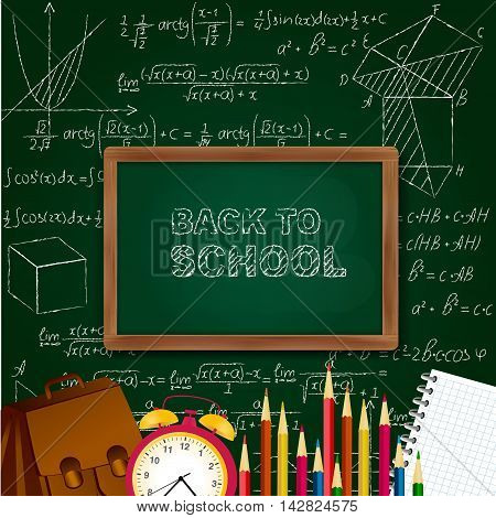 Back to school background with school supplies - blackboard, alarm clock, pencils, notepad on mathematical surface. Vector illustration.