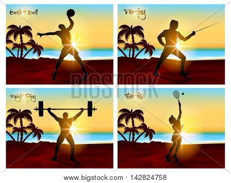 Set of four Sports Poster, Banner or Flyer with silhouette of Basketball, Fencing, Weight Lifting and Tennins Players in playing action on beautiful nature view background.