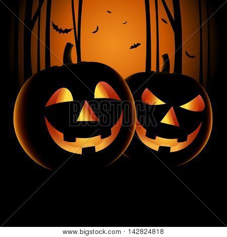 Halloween night backdrop with pumpkins and haunted forest vector eps 10