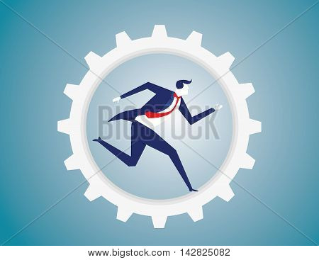 Businessman run in the gear. Bicycle gearing with running businessman. Business concept. Vector flat